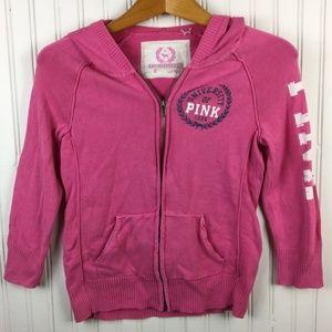 University of Pink VS Hoodie 3/4 Sleeve Full Zip